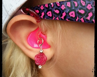Hearing Aid Charms: Translucent Sugar Drop Roses!  (Also available in matching Mother Daughter Sets!)