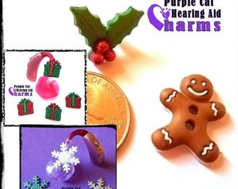 Hearing Aid Tube Trinkets or Cochlear Cuties:  Glittery Snowflakes, Gifts, Holly Berries or Gingerbread Men!  Select quantity 2 for a pair!
