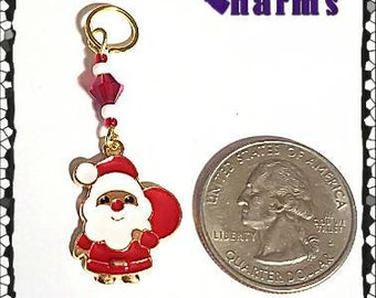 Hearing Aid Charms: Sweet Santas with Czech Glass Accent Beads!