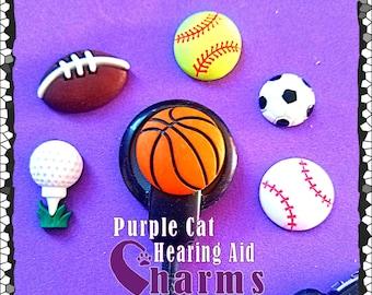 Cochlear Cuties or Hearing Aid Tube Trinkets: Softball, Golf, Baseball, Football, Basketball or Soccer! Select Quantity 2 for a pair!