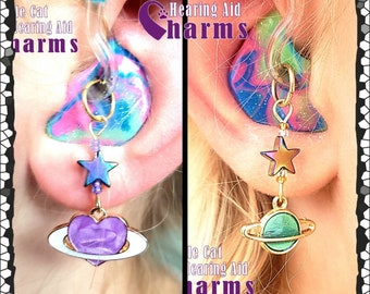 Hearing Aid Charms:  Sweet Saturns with Czech Glass and star accent beads! Each style sold separately.