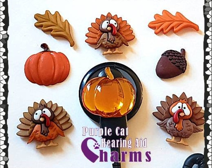 Featured listing image: Cochlear Cuties or Hearing Aid Tube Trinkets: Fall Pumpkins, Turkeys, Leaves and Acorns!  Please Select Quantity 2 for a Pair!