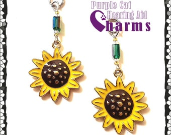 Hearing Aid Charms: Sunflowers with Czech Glass Accent Beads!