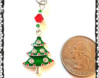 Hearing Aid Charms:  Jeweled Christmas Trees with Czech Glass Accent Beads!