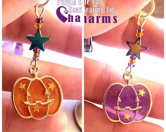Hearing Aid Charms:  Sparkling Translucent Halloween Jack-o-lanterns with Czech Glass and Hematite Star Accent Beads!