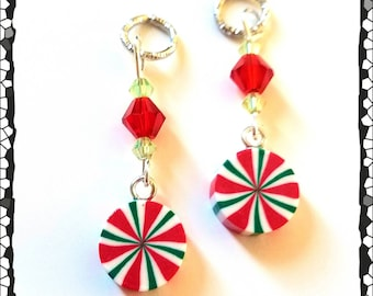 Hearing Aid Charms:  Petite Christmas Peppermints with Czech Glass Accent Beads!