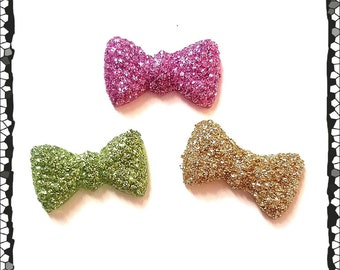 Hearing Aid Tube Trinkets:  Glittery Bows!  Please select quantity 2 for a pair! 3 colors to choose from!