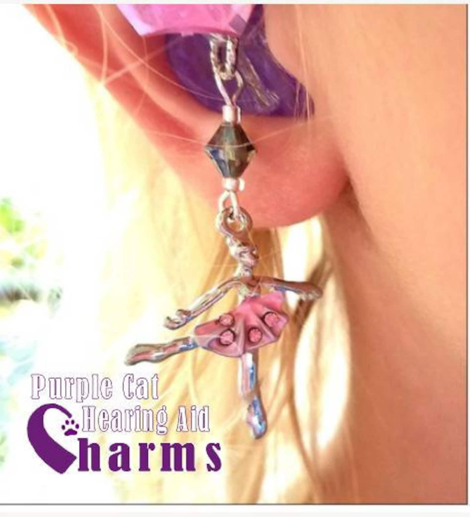 hearing aid charms: charming ballet slippers or beautiful ballerinas with czech glass accent beads!