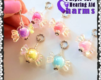 Hearing Aid Charms: Sweet, Brightly Colored Translucent, Pearlescent Wrapped Candies!  Available in 6 colors!  Not edible!