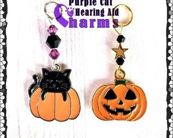 Hearing Aid Charms:  Cute Black Cat or Jack-o-lantern with Czech Glass and Swarovski Crystal Accent Beads!