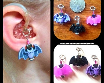 Halloween Hearing Aid Charms:    Acrylic Bats with Czech Glass, Silver Plated and Hematite Heart Accent Beads!  Available in 3 fun colors!
