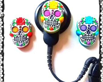 Cochlear Cuties or Hearing Aid Tube Trinkets: Dia de los Muertos Sugar Skulls!  3 colors to choose from to mix or match!