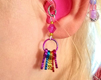 Hearing Aid Charms:  Awesome Metallic Rainbow Key Rings with Glass Accent Beads!