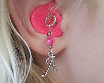 Hearing Aid Charms: Personalized Initials with Glass Accent Beads!
