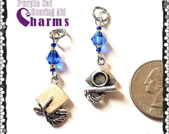 Hearing Aid Charms:  Antique Silver Graduation Caps with Czech Glass and Swarovski Crystal Accent Beads! Personalize w/your School Colors!