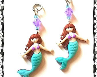 Hearing Aid Charms: Beautiful Mermaids with Czech Glass Accent Beads!