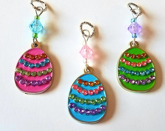 Hearing Aid Charms: Jeweled Easter Eggs with Glass Accent Beads! Also available as a matching mother daughter set!