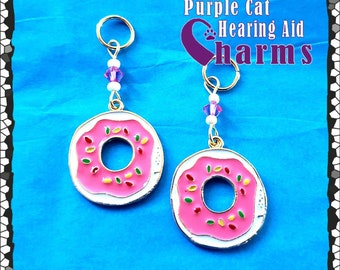 Hearing Aid Charms: Darling Enamel Donuts with Sprinkles and Swarovski Crystal and Czech Glass Accent Beads!
