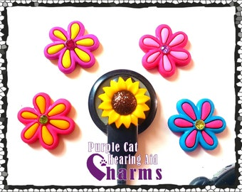 Cochlear Cuties or Hearing Aid Tube Trinkets:  Bright Beautiful Flowers!  Please select Quantity 2 for a pair!