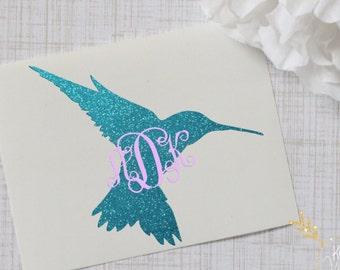 Hummingbird Monogram Glossy and Glitter Vinyl Decal, Glossy and Glitter Monogram Sticker