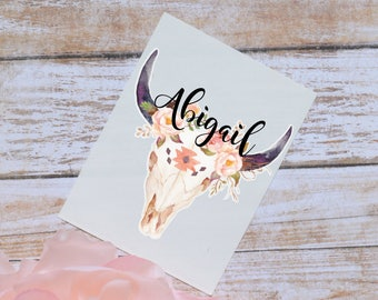 Steer Skull Floral Monogram Decal, Watercolor Flowers, Cow Skull, Bull Skull, Tumbler Decal, Floral Decal, Tribal Skull