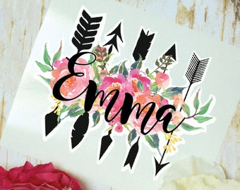 Peonies and Arrows Monogram Decal, Flower Decal, Glossy and Glitter Monogram Sticker, Tumbler Decal, Watercolor Peonies, Printed Decal