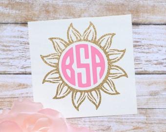 Sunburst Monogram Glossy and Glitter Vinyl Decal, Glossy and Glitter Monogram Sticker, Flower Monogram