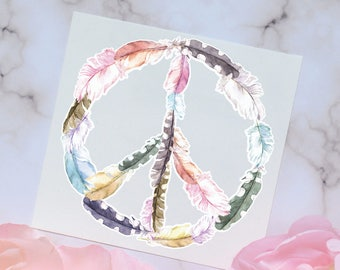Feather Peace Sign watercolor Decal, Vinyl Decal for tumbler or water bottle, Feather Decal, Watercolor Decal, Peace Decal