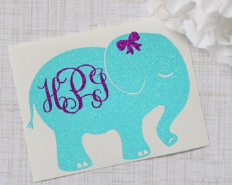 Elephant Monogram Glossy and Glitter Vinyl Decal, Glossy and Glitter Monogram Sticker