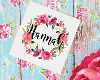 Floral Wreath Monogram Decal, Watercolor Flowers, Glossy and Glitter Monogram Sticker, Vinyl Decal for tumbler or water bottle, Floral Decal