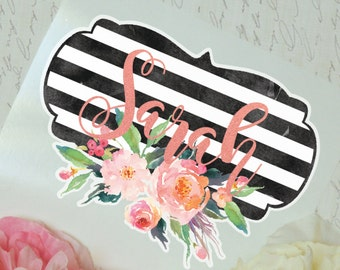 Striped Floral Monogram Decal, Watercolor Peonies, Glossy and Glitter Monogram Sticker, Tumbler Decal, Watercolor Peonies, Printed Decal