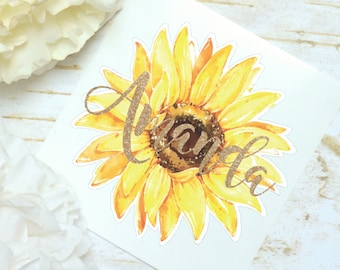 Sunflower Watercolor Monogram Decal, Sunflower Decal, Watercolor Flowers, Glitter Monogram Sticker, Tumbler Decal, Printed Decal