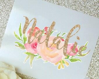 Peony Floral Monogram Decal, Flower Decal, Watercolor Flowers, Flower decal, Tumbler Decal, Watercolor Peonies, Printed Decal