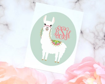 Llama Monogram Decal, Glossy and Glitter Monogram Sticker, Tumbler Decal, Alpaca Printed Decal, Llama Monogram sticker