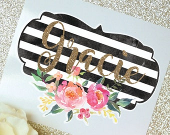 Stripes and Flowers Monogram Decal, Flower Decal, Watercolor Flowers, Monogram Sticker, Tumbler Decal, Watercolor Peonies, Printed Decal