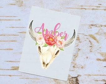 Steer Skull Floral Monogram Decal, Watercolor Flowers, Cow Skull, Bull Skull, Tumbler Decal, Floral Decal
