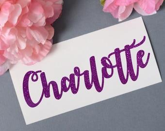 Custom Name Glitter Vinyl Decal, Monogram Sticker