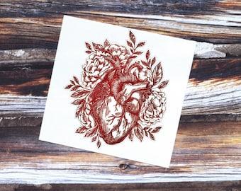 Anatomical Heart Sticker   Watercolor Heart Vinyl Decal   Anatomical Heart and Flowers Sticker   Heart Laptop Decal   Heart Sticker