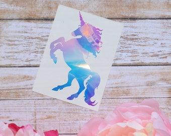 Unicorn Holographic Vinyl Decal, Chrome Decal, Holo Unicorn Decal
