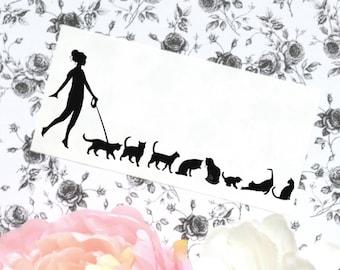 Cat Vinyl Car Laptop Decal, Cat sticker, Woman Walking Cats decal