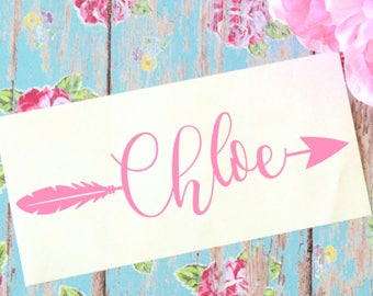 Custom Name with Arrows Glossy Vinyl Decal, Monogram Sticker, Feather Arrow Decal