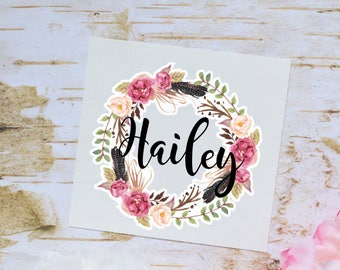 Floral Wreath Monogram Decal, Watercolor Flowers and feathers, Monogram Sticker, Vinyl Decal for tumbler or water bottle, Floral Decal