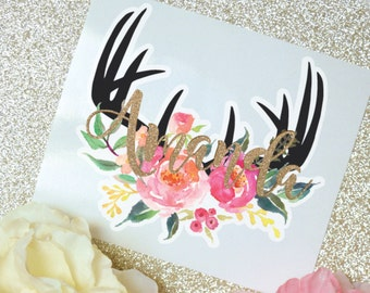 Antlers Floral Monogram Decal, Antler Decal, Watercolor Flowers, Monogram Sticker, Tumbler Decal, Watercolor Peonies, Printed Decal