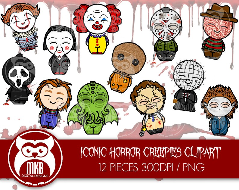 Iconic Movie Slashers and Montster Clipart - Pennywise, Ghostface, Jason,  Michael, Freddy and more! 300DPI/PNG digital download