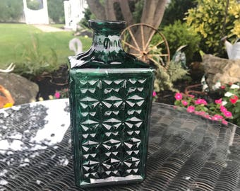 Emerald Green Glass Vintage Hobnail Decanter