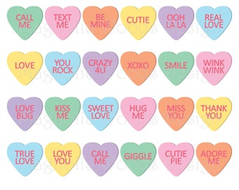 Candy Heart Clipart Etsy