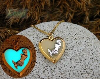 Glow heart shape locket necklace,gold heart locket necklace with silver mermaid charm,glow mermaid locket necklace,glow in the dark