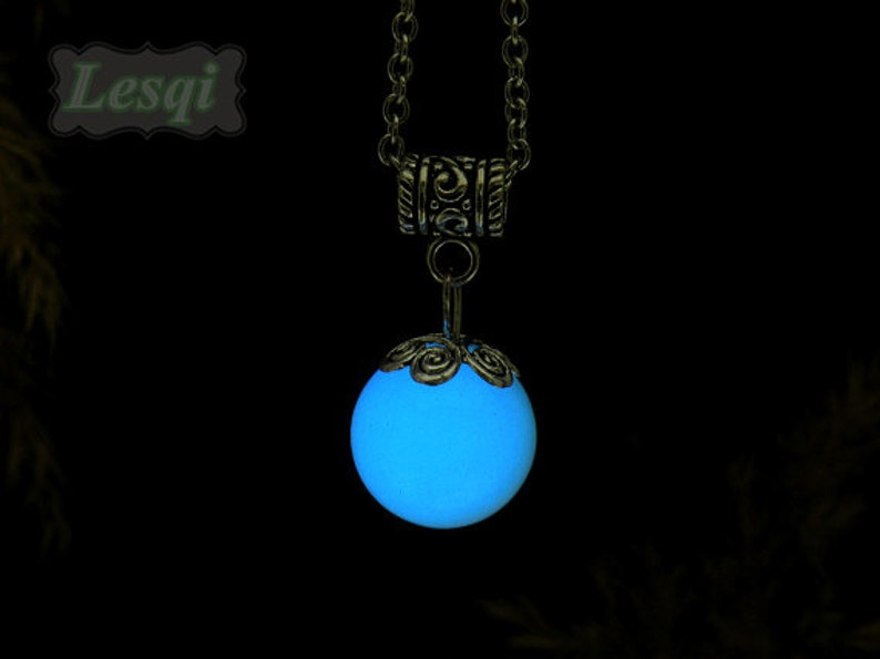 Glowing ball stone necklace with blue light,Glow ball necklace,Stainless steel necklace,Glow in the dark