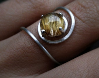 Spiral rutilated quartz sterling silver ring