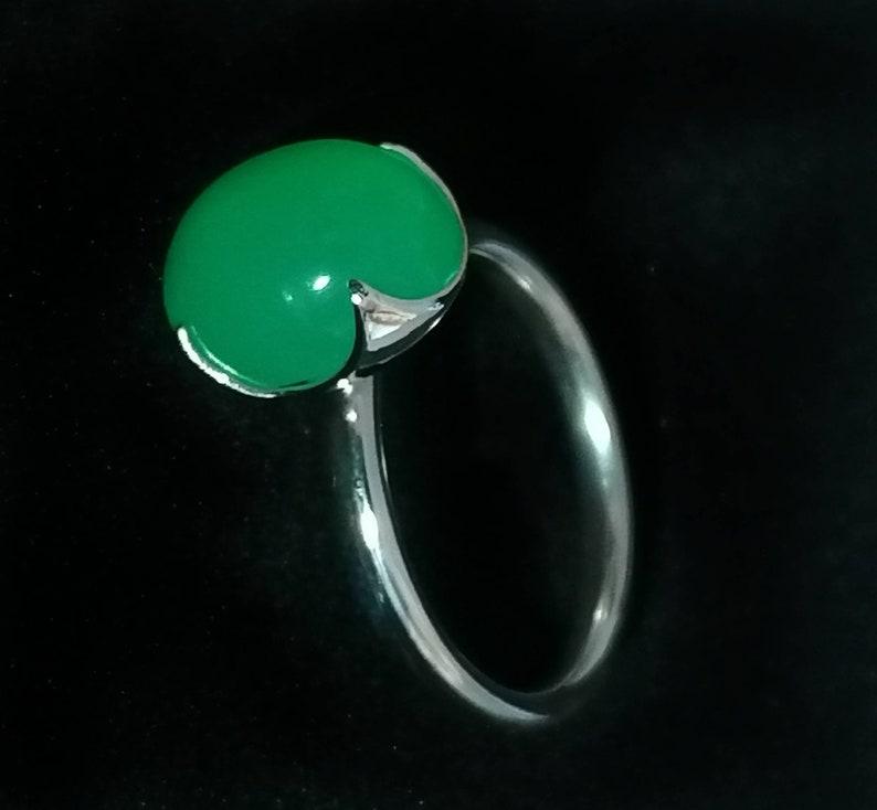 Chrysoprase sterling silver ring